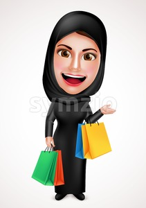 Female Muslim Arab Holding Shopping Bags Character Stock Vector