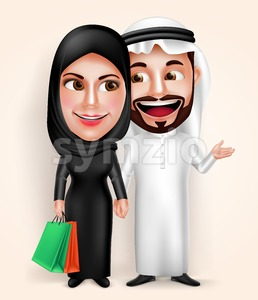 Muslim Arab Young Couple Vector Characters Shopping Stock Vector