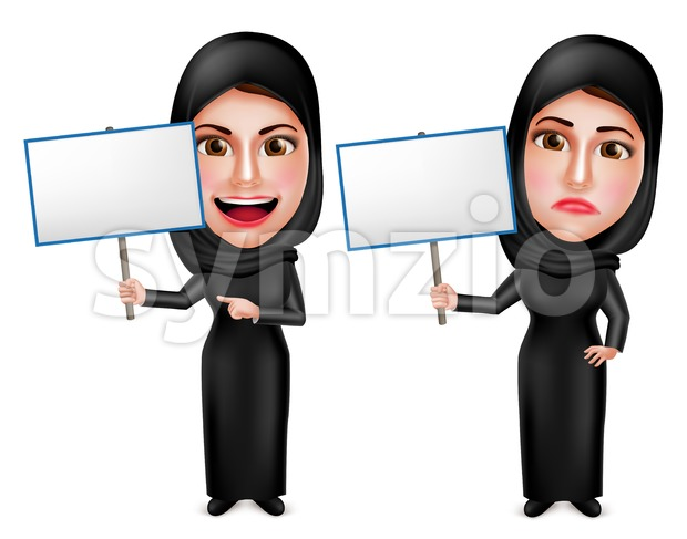 Female Muslim Holding Placard Sign Vector Characters Stock Vector