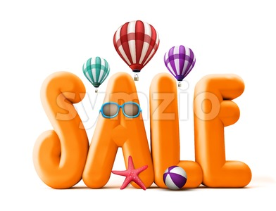 3D Sale Word Title for Summer Stock Photo