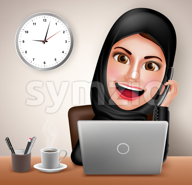 Female muslim working in office desk vector character with laptop holding telephone and calling wearing black islamic dress. Vector illustration. This ...