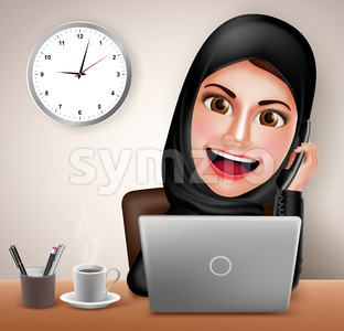 Female Muslim Working in Office Desk Vector Character Stock Vector