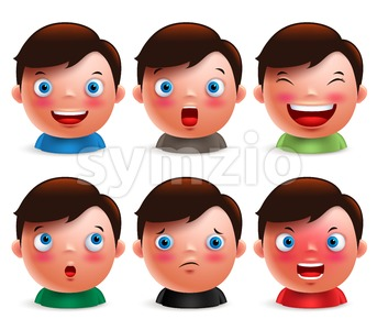 Boy Kid Avatar Facial Expressions Emoticon Vector Stock Vector