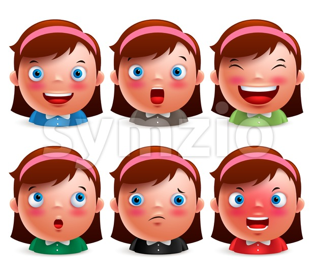 Girl Kid Avatar Facial Expressions Emoticon heads vector Stock Vector