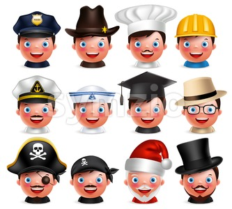 Profession Avatar Emoticon Heads with Hats Vector Stock Vector