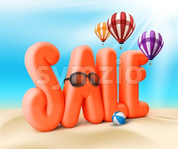3D Sale Summer Promotion Illustration Stock Photo