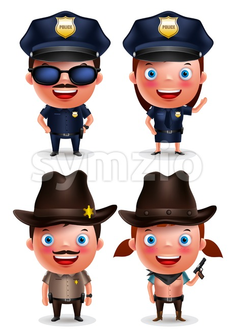 Policewoman, sheriff cowgirl and policeman vector characters set with friendly smile with uniform isolated in white. Vector illustration. This vector ...