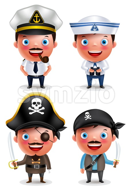 Ship Captain, Seafarer and Pirates Vector Character Set Stock Vector