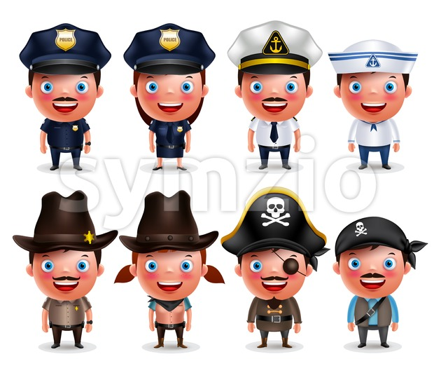 Police, seafarers, captain, sheriff, cowgirl and pirates vector character set isolated in white background. Vector illustration.This vector character was designed ...