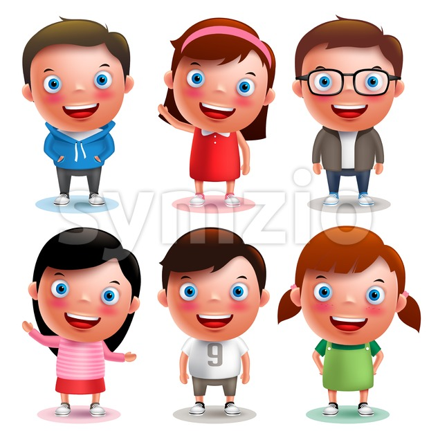 Kids vector characters boys and girls set with happy smile and different outfits and hairstyle isolated in white background. Vector ...