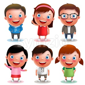 Kids Vector Characters Set with Different Outfits Stock Vector