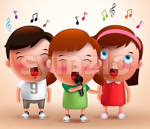 Singing Kids Vector Characters Holding Microphone Stock Vector