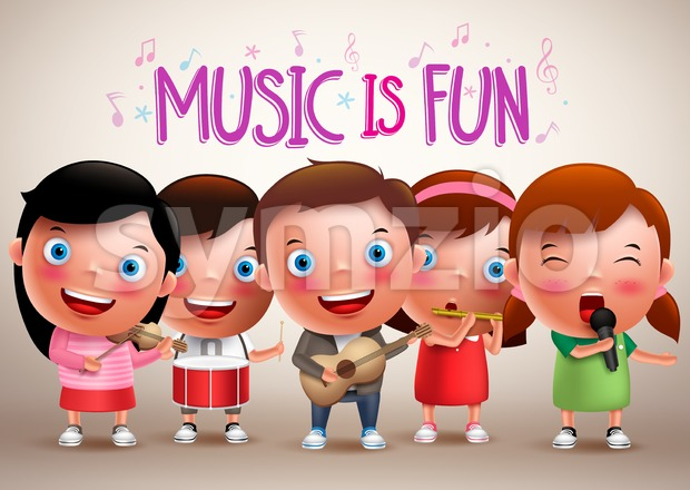 Kids playing musical instruments vector characters while singing fun music performing in front of stage. Vector illustration.  This vector character was ...
