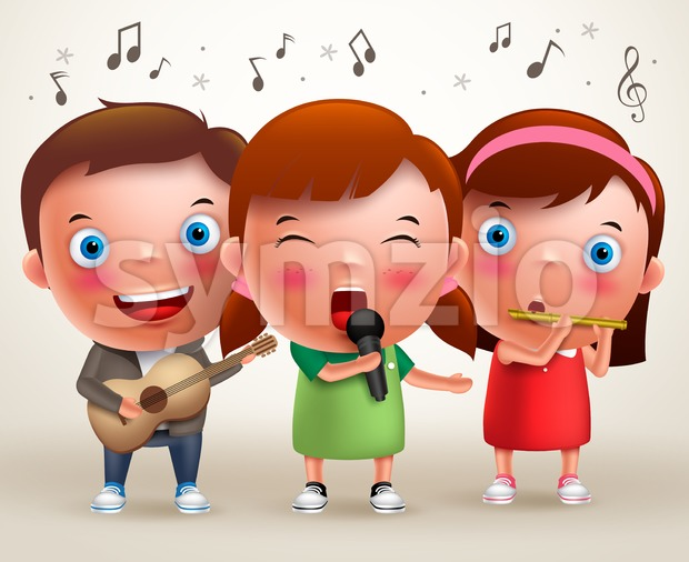 Vector Character Kids Singing and Playing Guitar & Flute Stock Vector