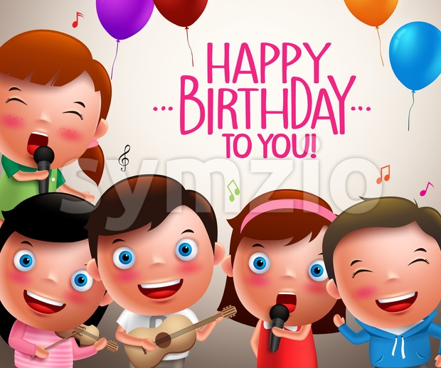 Kids vector characters singing happy birthday and happy playing musical instruments with balloons flying. Vector illustration.  This vector character was designed ...