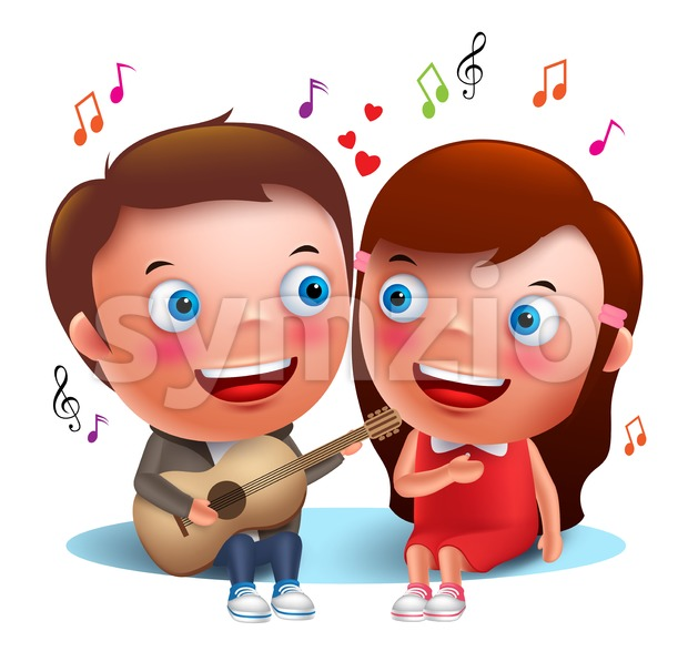 Two young kids couple singing serenade with guitar for valentines while sitting isolated in white background. Vector characters.  This vector character ...