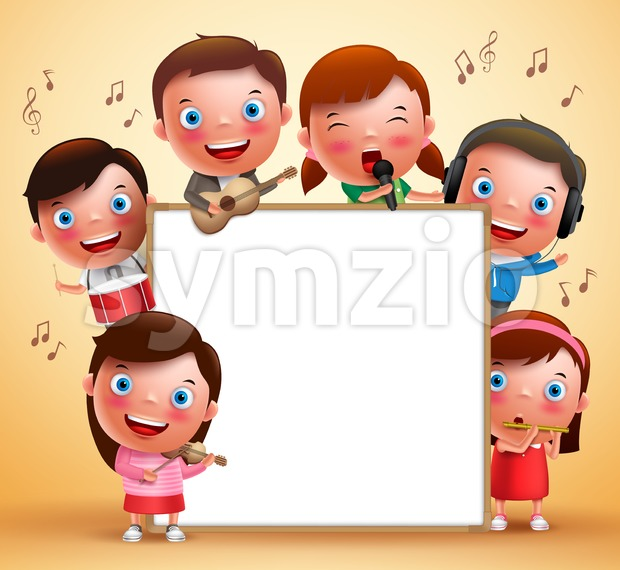 Kids Vector Characters Playing Musical Instruments Stock Vector