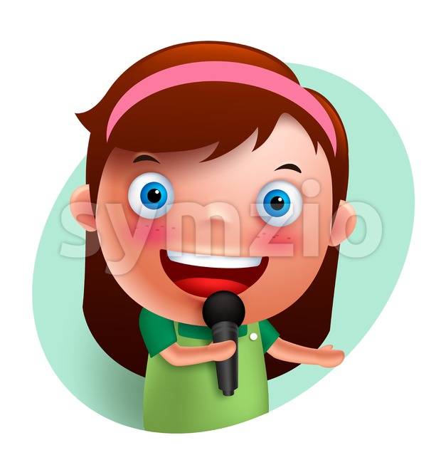 Singer Girl Vector Character Singing with Microphone Stock Vector