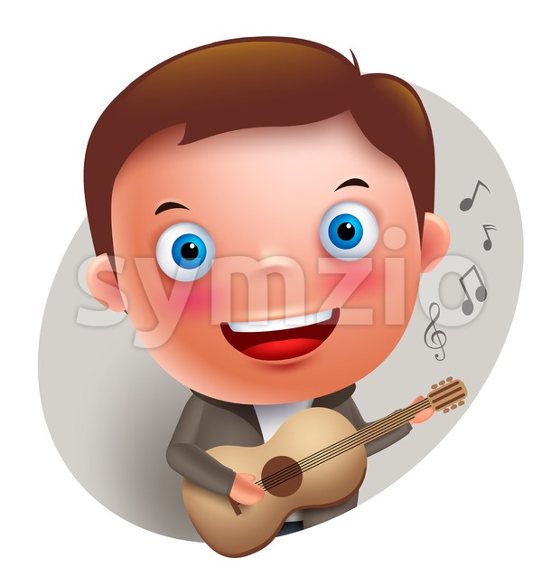 Young guitarist  vector character singing and holding guitar in front isolated in white background. Vector illustration. This vector character was designed ...