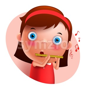 Young Flutist Vector Character Playing Flute Stock Vector