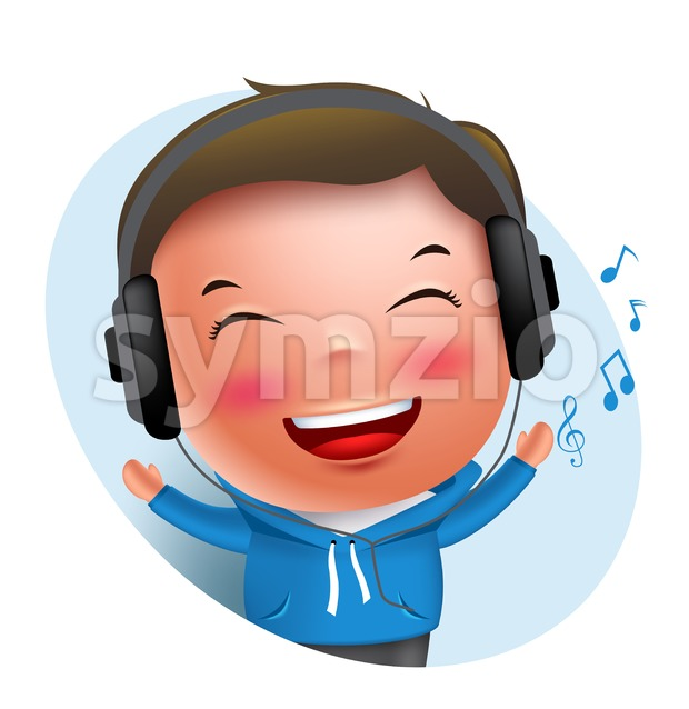 Boy Vector Character Listening to Music in Headset Stock Vector