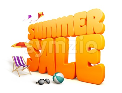 3D Dimensional Summer Sale Title Word Stock Photo