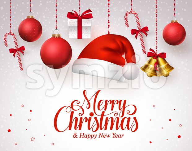 Merry Christmas With Hanging Christmas Ornaments Stock Vector