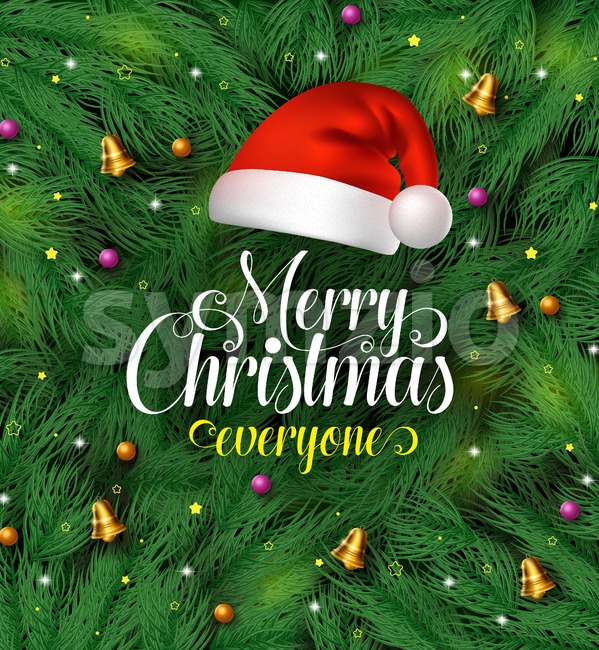 Merry Christmas Greetings with Santa Claus Hat Stock Vector