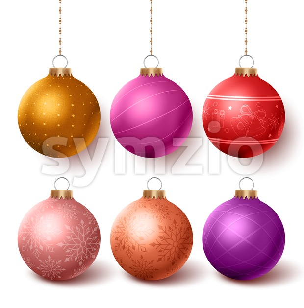 Christmas balls colorful decoration set hanging in isolated white background with different designs and patterns. Vector illustration. This vector character was ...