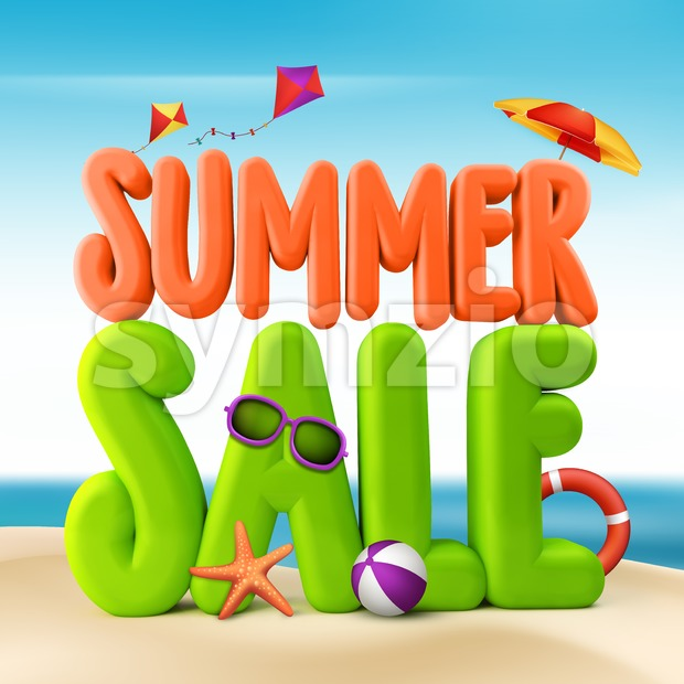 3D Rendered Summer Sale Text Title Stock Photo