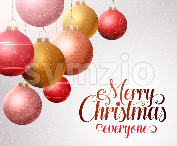 Merry Christmas Background, Hanging Christmas Balls Stock Vector