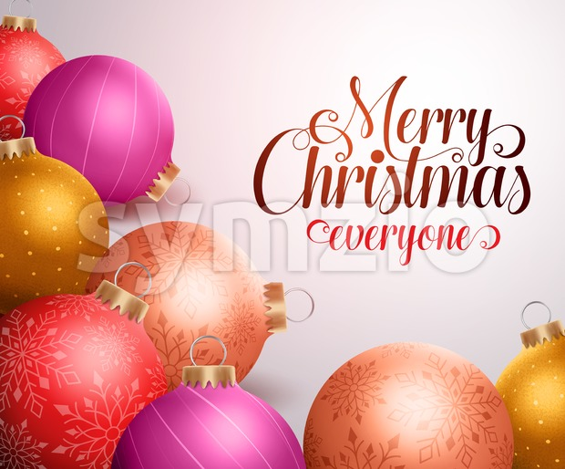 Merry Christmas background design with colorful Christmas balls with patterns and space for greetings to everyone. Vector illustration. This vector character ...