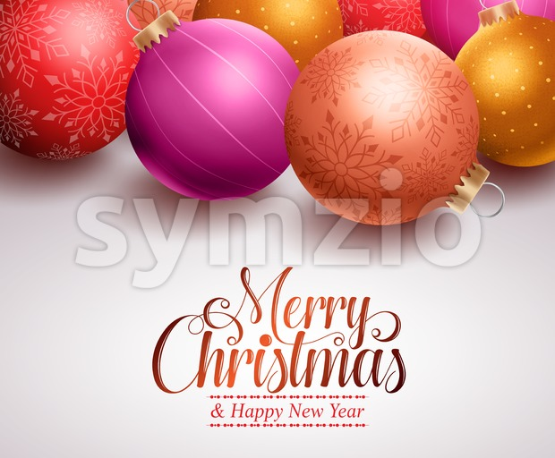 Christmas balls background design with different colors and patterns and space for Christmas greetings and text. Vector illustration. This vector character ...