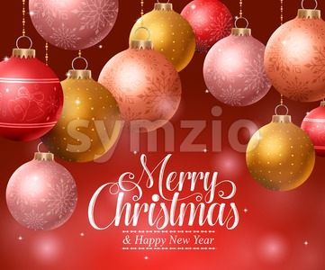 Christmas Background with Hanging Christmas Balls Stock Vector
