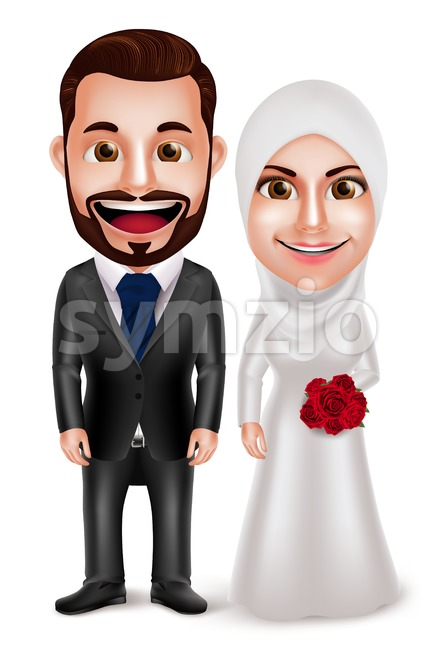 Muslim couple vector characters as bride and groom wearing hijab and white wedding dress and black tuxedo isolated in white ...
