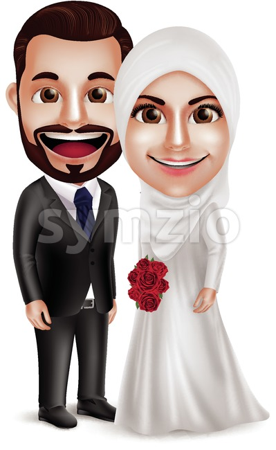 Muslim Wedding Vector Characters, Bride and Groom Stock Vector