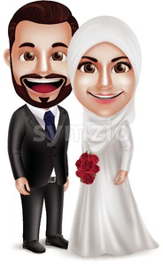 Muslim Wedding Vector Characters, Bride and Groom Stock Vector