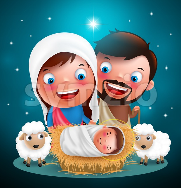 Holy night when jesus born in manger with joseph and mary vector characters for christmas holiday design with stars in ...