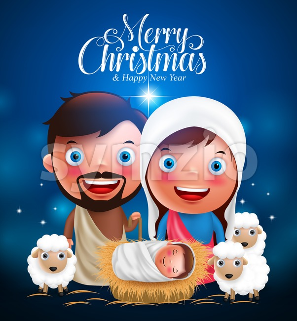Merry Christmas Baby Jesus in Belen Vector Characters Stock Vector