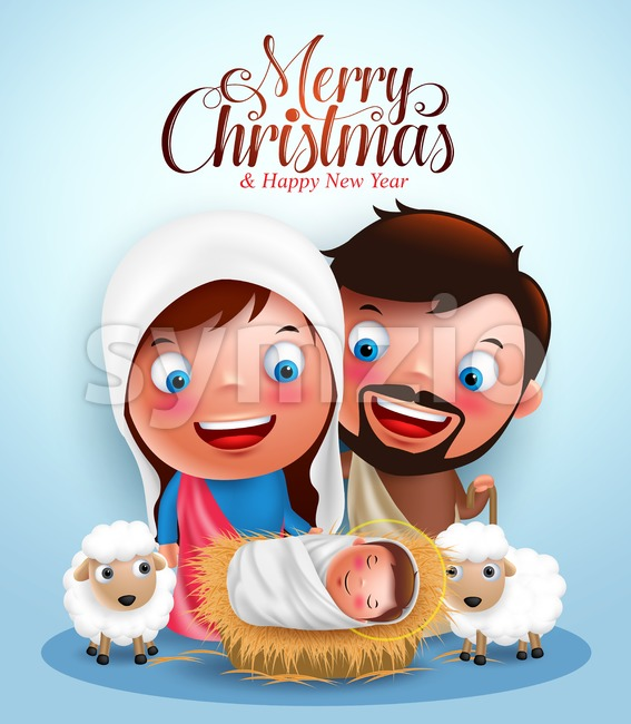 Jesus born in manger, belen with joseph and mary vector characters  in christmas night with Merry Christmas greetings. Vector illustration. This ...