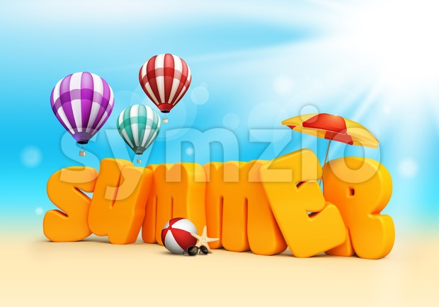 Summer text 3D Standing in Beach Sand with Sky and Sun Rays Background with Flying Colorful Balloons, Umbrella, Starfish, Sunglasses and ...