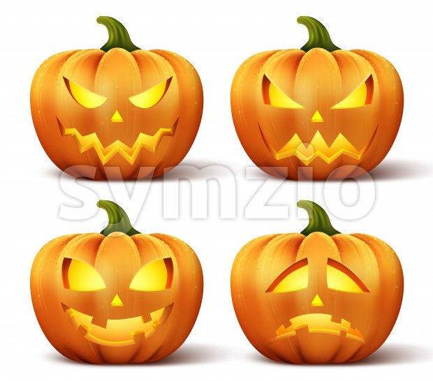 Vector pumpkins with set of different faces for halloween icons and decorations isolated in white background. Vector illustration.This halloween vectorwas ...