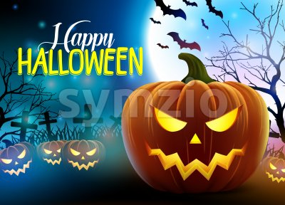 Happy Halloween Vector Design with Scary Pumpkins Stock Vector