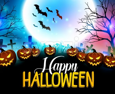 Happy Halloween Background with Scary Pumpkins Stock Vector