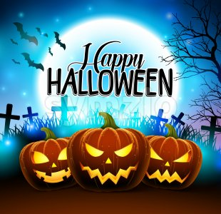 Pumpkins for Happy Halloween in Cemetery Vector Stock Vector