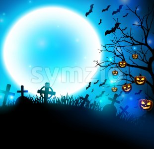 Halloween Background in Cemetery Vector Illustration Stock Vector