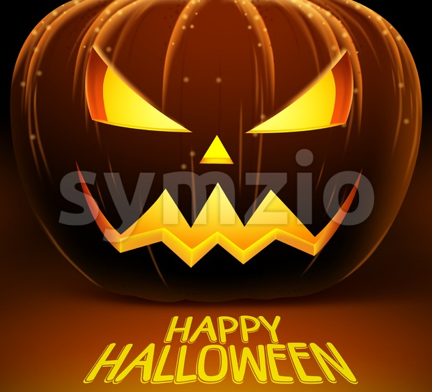 Halloween vector background with scary pumpkin and yellow lights of horror. Vector illustration with happy halloween greetings. This halloween vector was designed ...