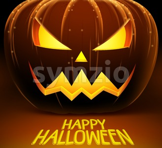 Halloween Vector Background with Scary Pumpkin Stock Vector
