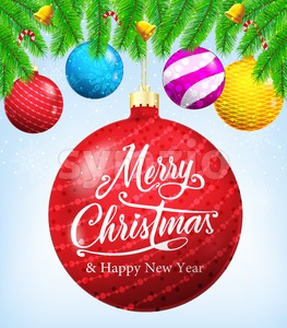 Merry Christmas in Christmas Ball Stock Vector
