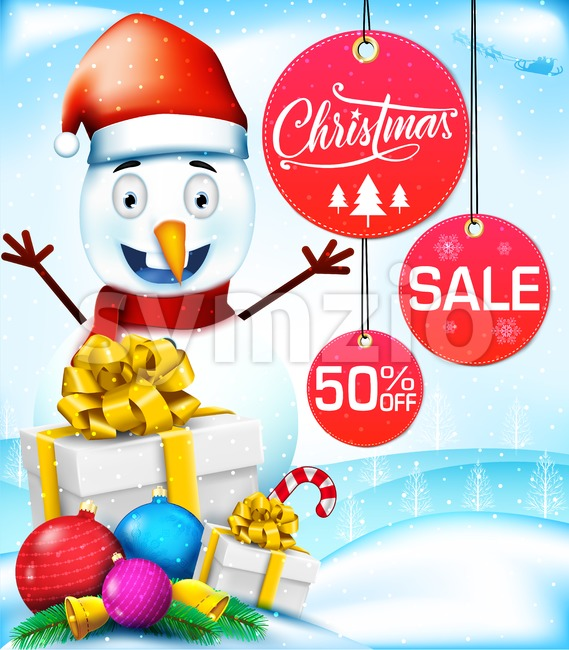 Christmas Sale with Snowman Character in Snowy Background with Gifts and Decoration Vector Illustration. This Christmas design is rich in ...